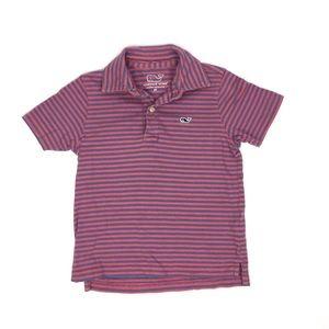 Vineyard Vines Navy & Red Striped Polo Shirt 3T